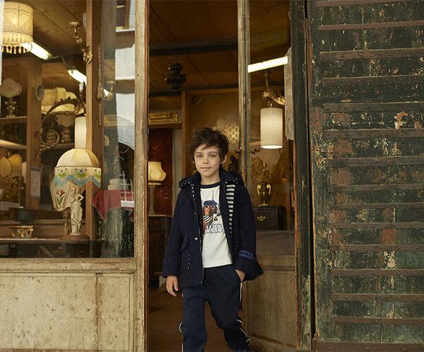 Boy's bouclé duffel coat with print
