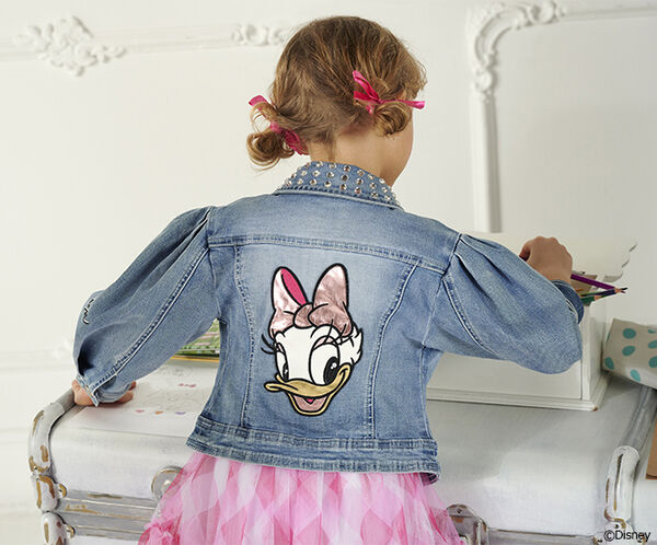 Denim jacket with rhinestone collar