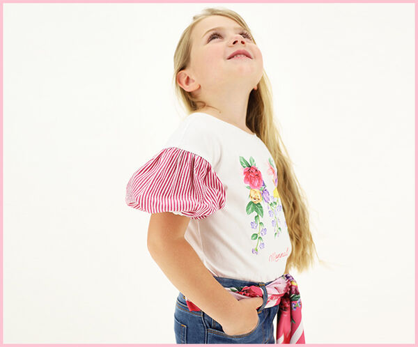 Jersey T-shirt with muslin sleeves
