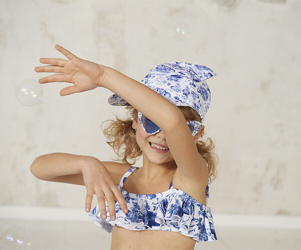 Two-piece printed lycra swimsuit
