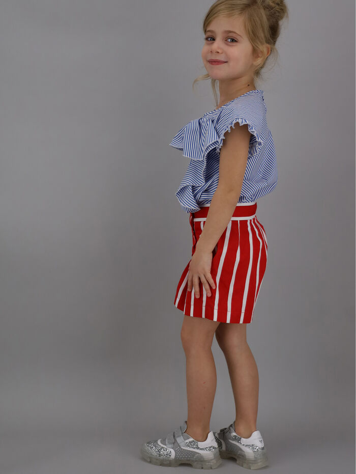 Striped shirt with maxi bow