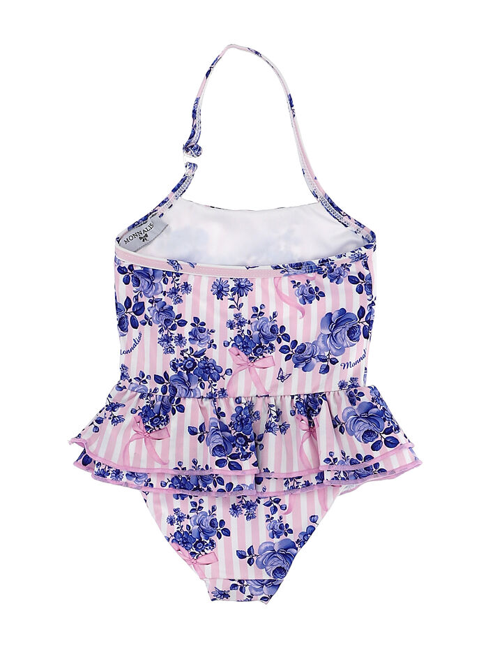 One-piece swimsuit w/flowers