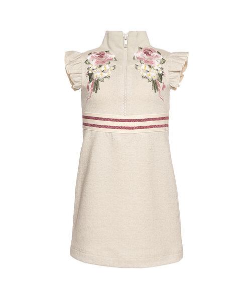 Embroidered sweatshirt fabric dress