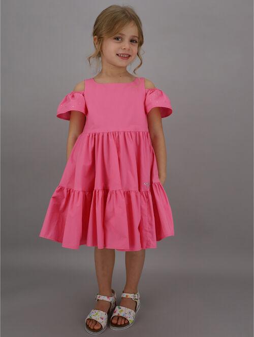 Cotton dress with rhinestone