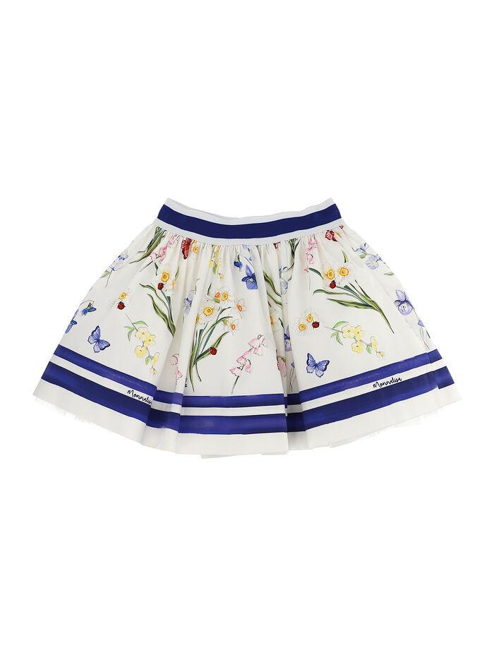 Ottoman skirt with botanical print