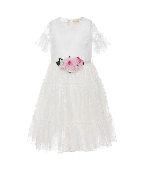 San Francisco e4817 fca5b In precious Chantilly lace the dress with round neckline and short ...