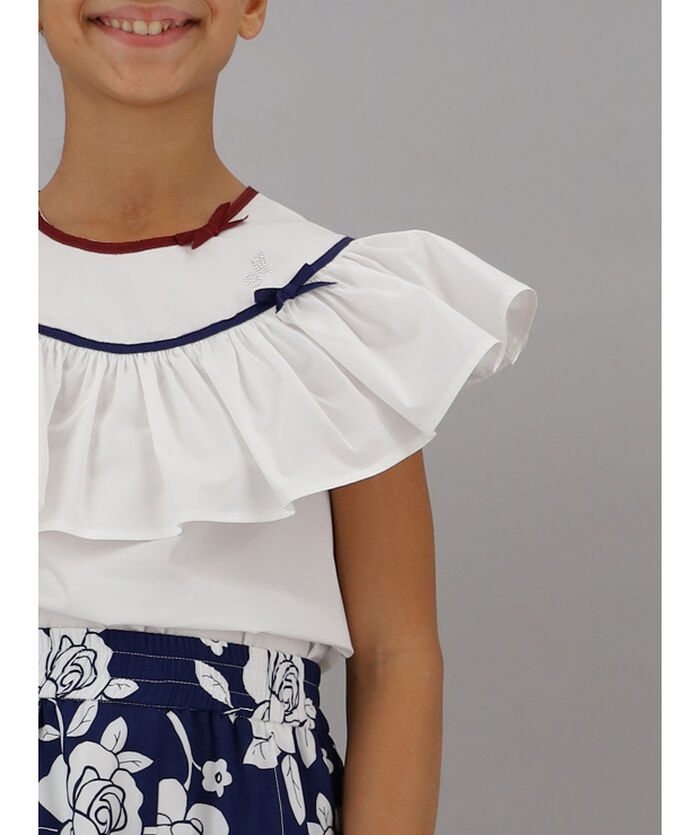 Top with poplin flounces
