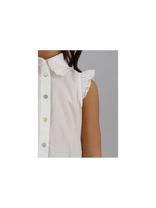 Poplin shirt with flounces