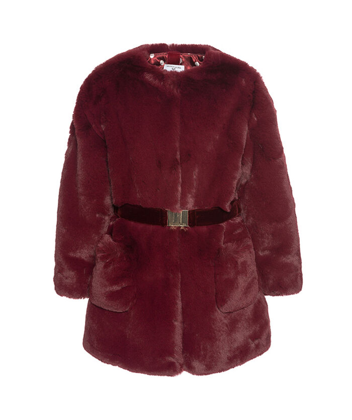 faux fur coat with a belt