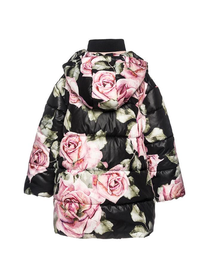 Long nylon padded jacket with roses