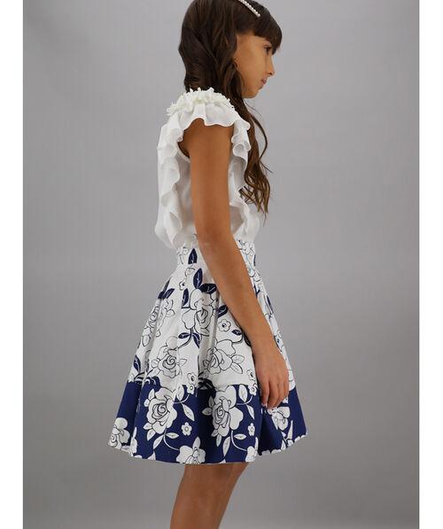 Two-tone printed skirt