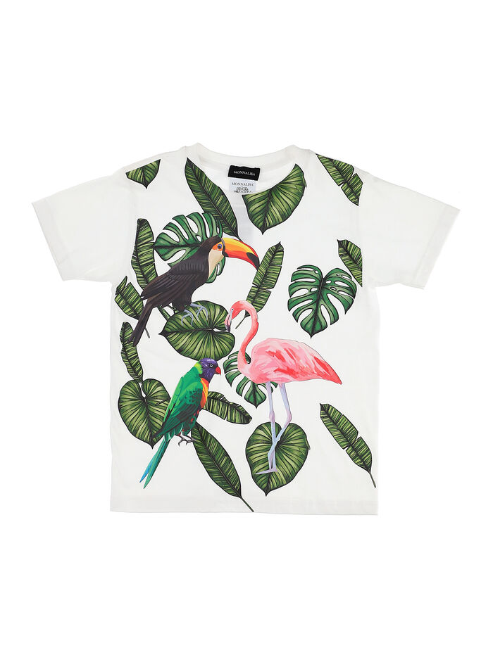 Jersey t-shirt with tropical animal print