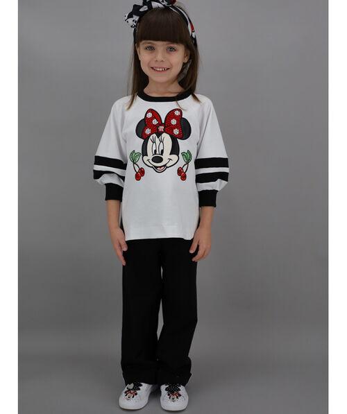 Sweatshirt with rhinestones and cartoon