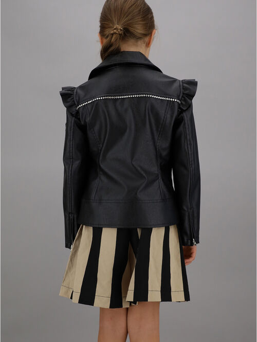 Faux leather studded jacket