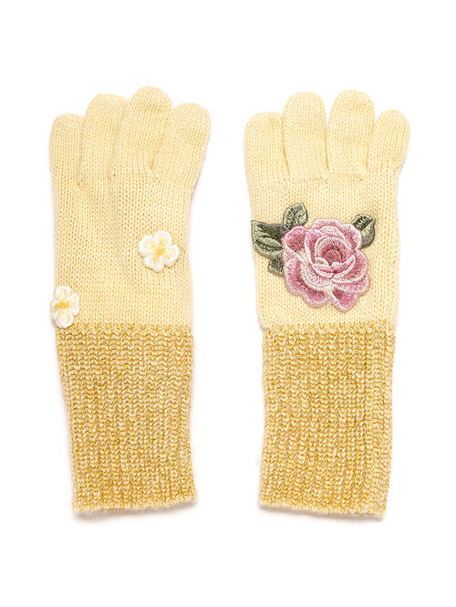 Gloves with an embroidered rose