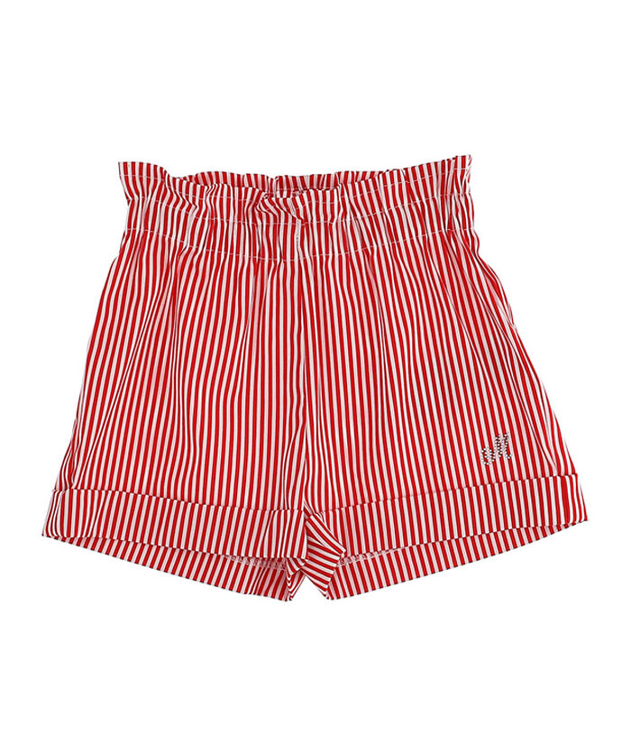Poplin shorts with vertical stripes