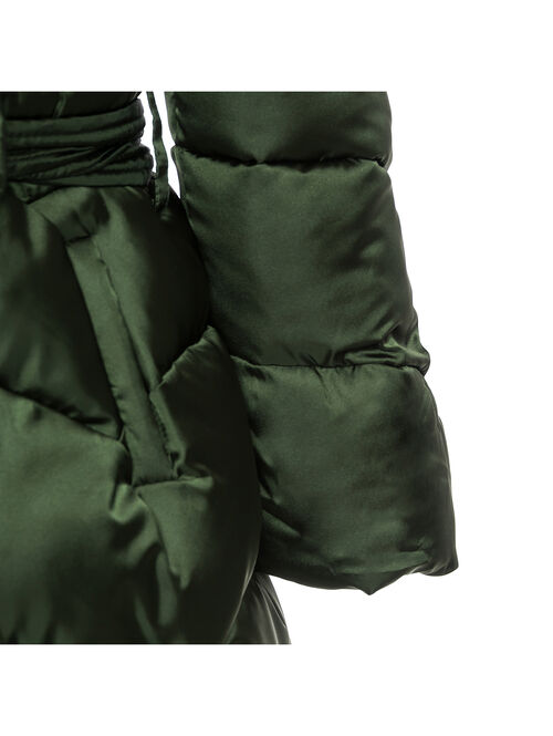 Padded coat with a belt and bow