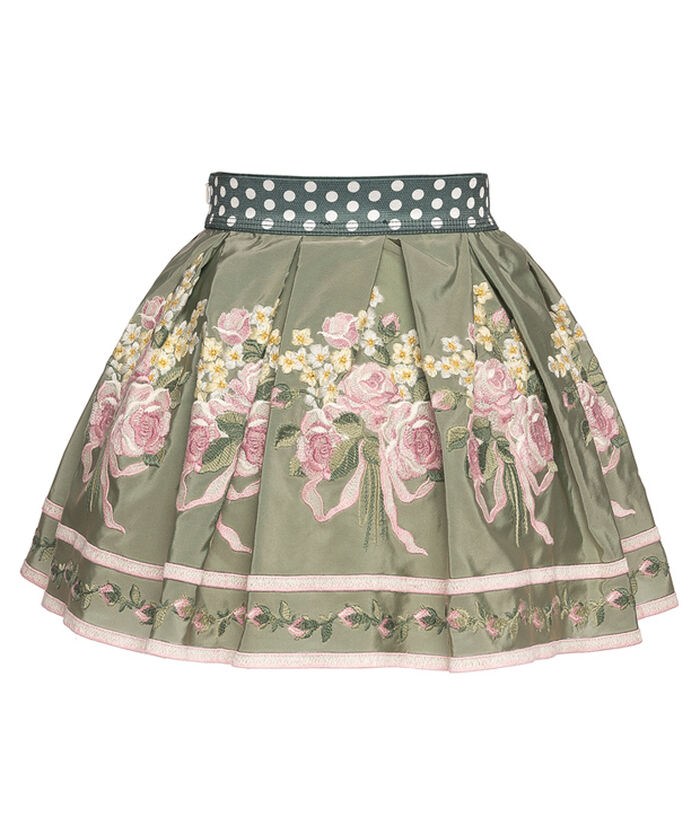 Embroidered skirt with tulle