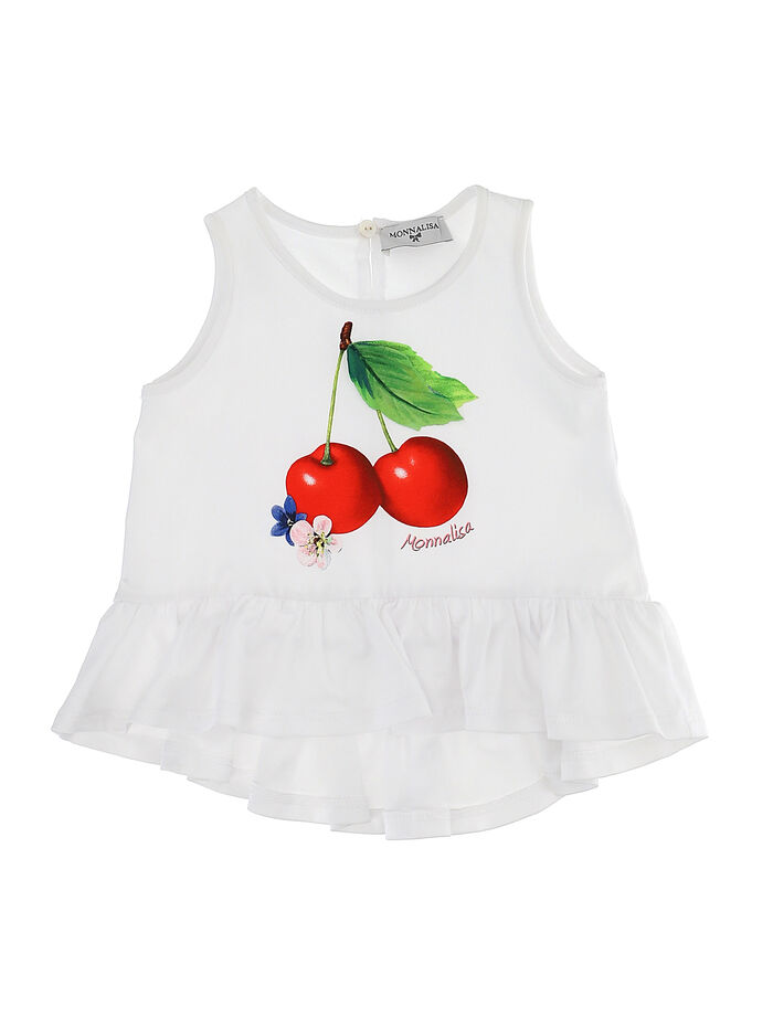 Maxi tank top with cherry for little girls