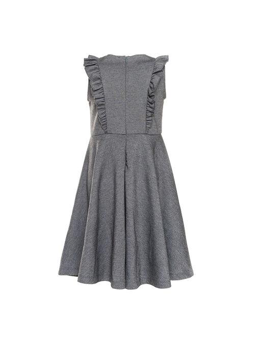 Milano stitch dress with ruffles