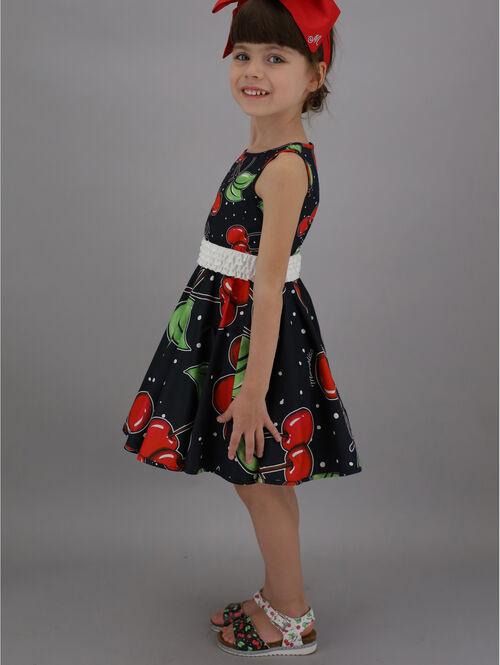 Dress with full skirt & cherry print