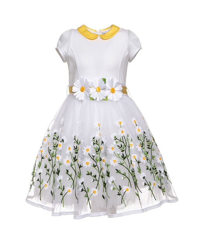 Платье из фатина с машинной вышивкой