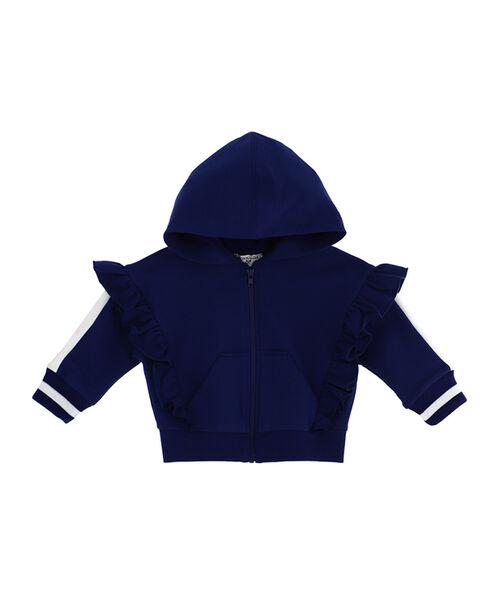 Cropped sweatshirt with rouches for little girls