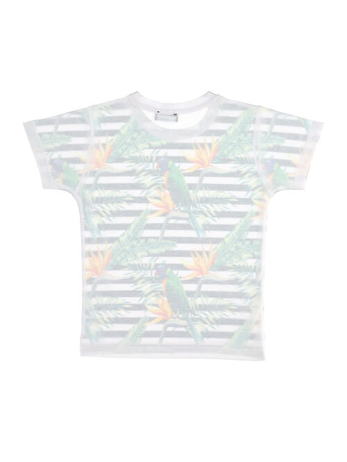 Striped jersey t-shirt with print