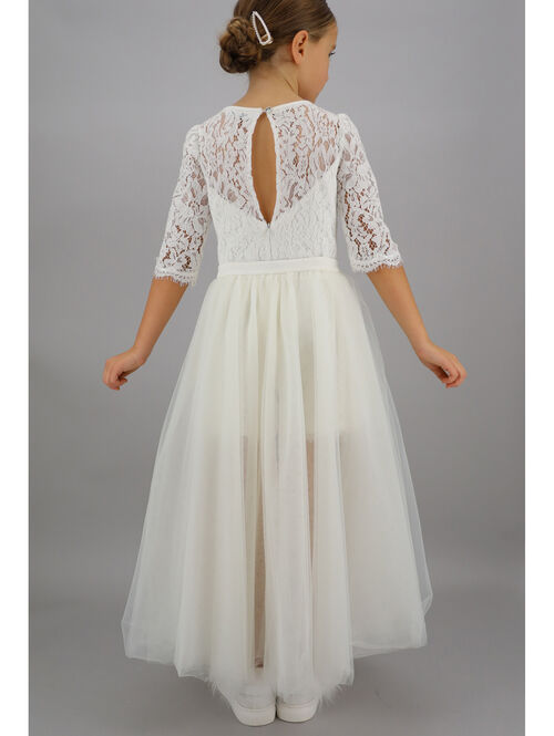 Lace jumpsuit with tulle skirt