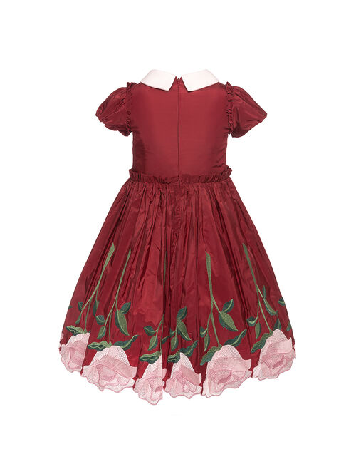 Taffeta dress with embroidered roses