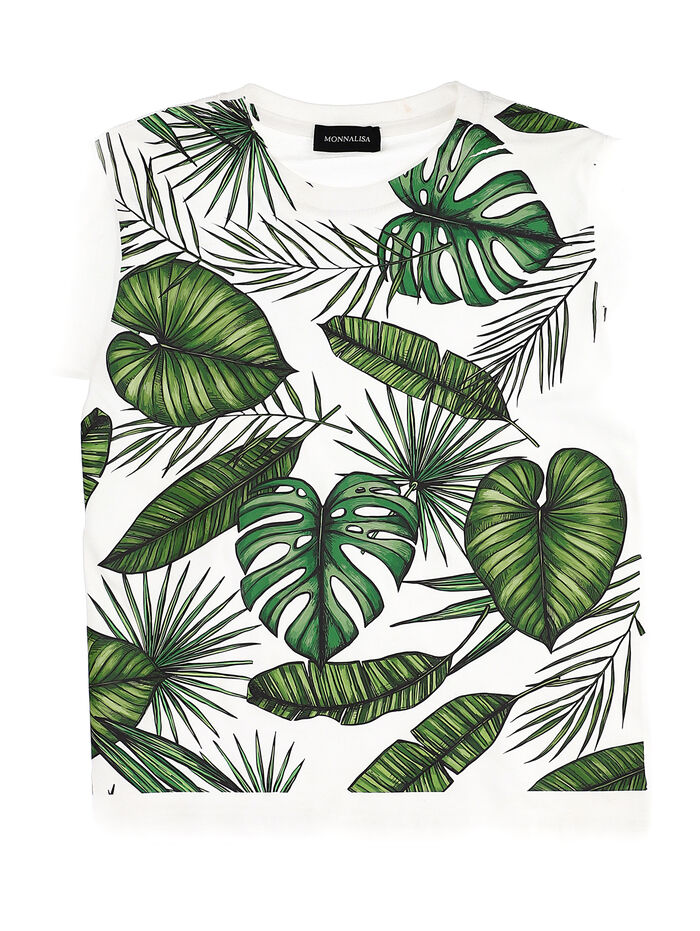 Cotton t-shirt with leaf print