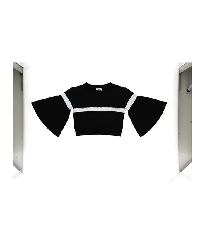Cropped, two-tone sweatshirt