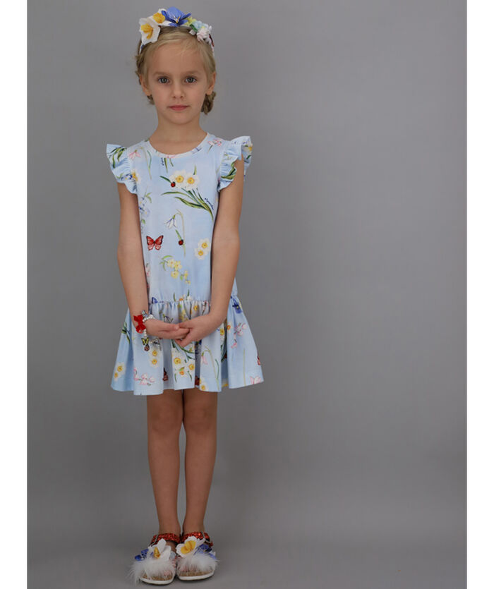 Printed jersey dress with flounce