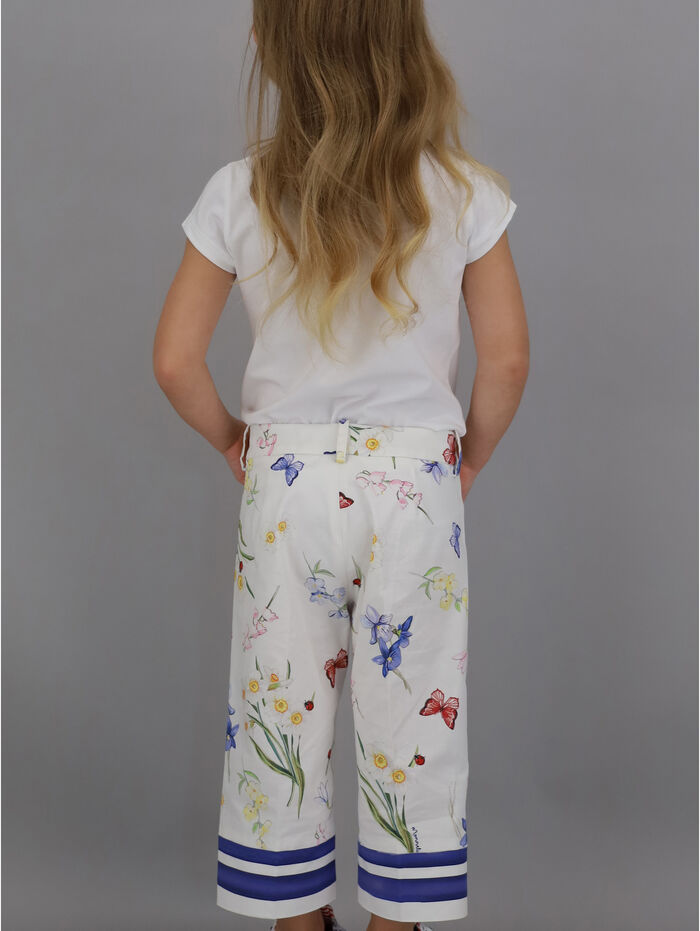 Printed, cropped Ottoman pants