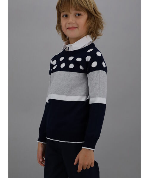 Polka dot and striped cotton pullover