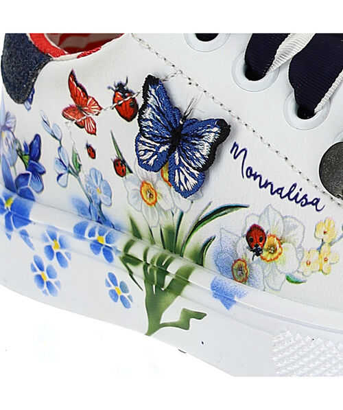 Glitter sneakers with butterflies and flowers