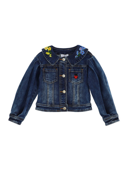 Cropped demin jacket with embroidery