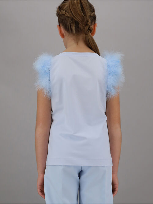 Elegant t-shirt with feather detail