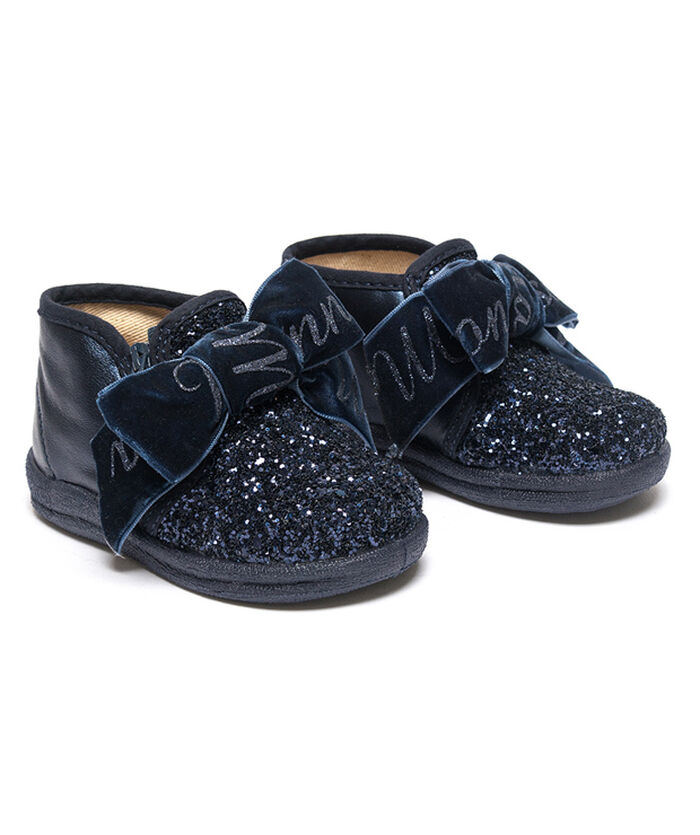 Glitter slip-on shoes with bow