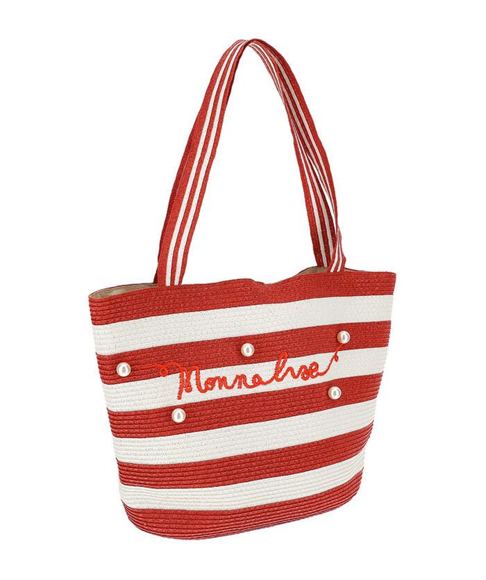 Maxi striped straw bag