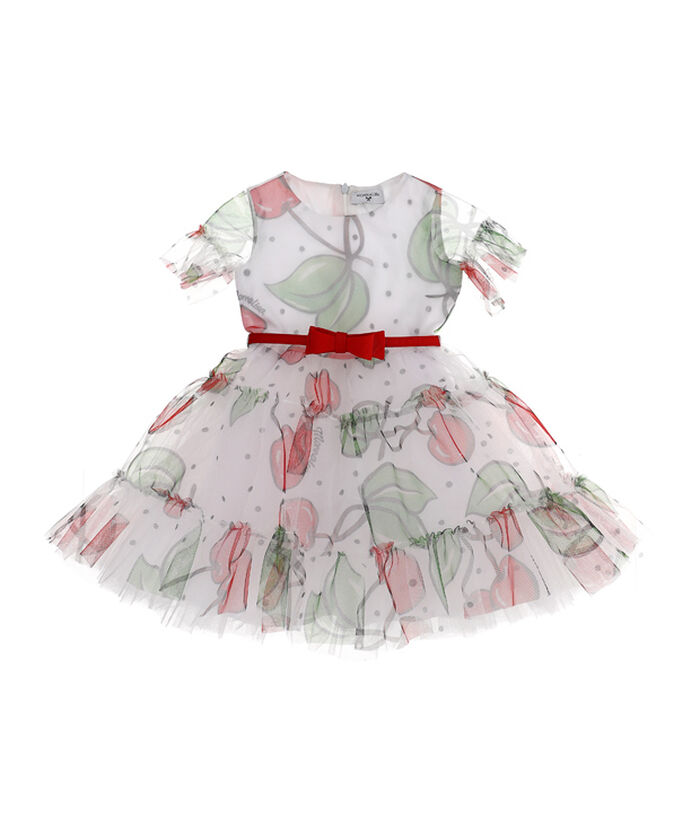 Printed tulle dress with cherries