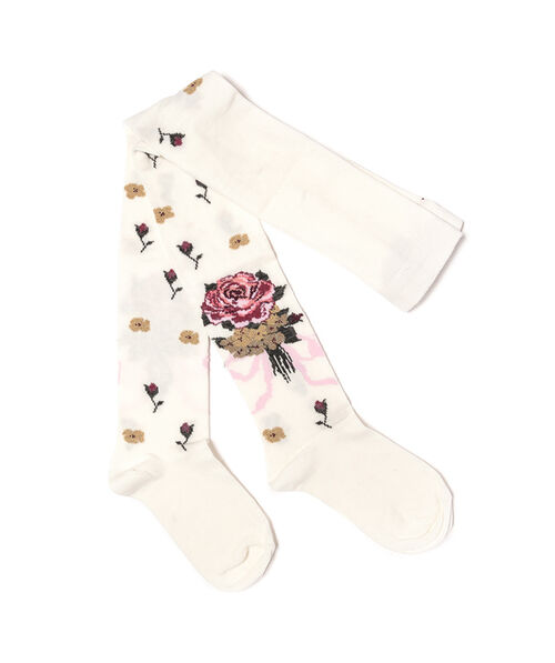 Knit tights with flowers