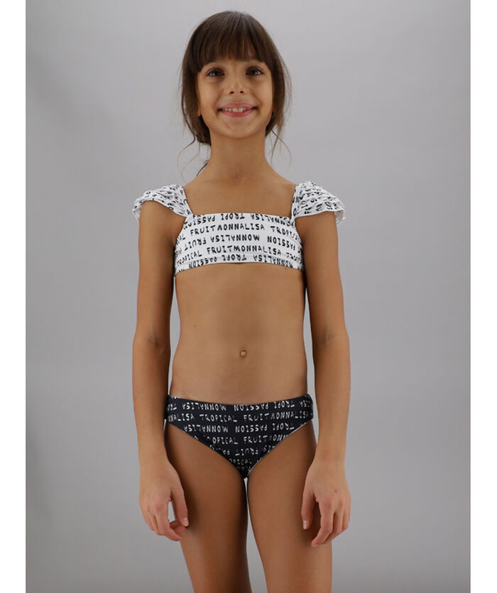 Teens lycra bikini, contrasting lettering print
