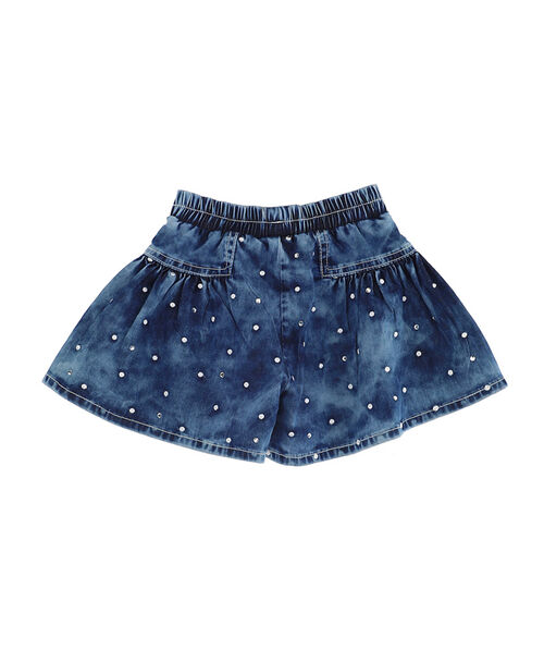 Embroidered polka dot jeans shorts