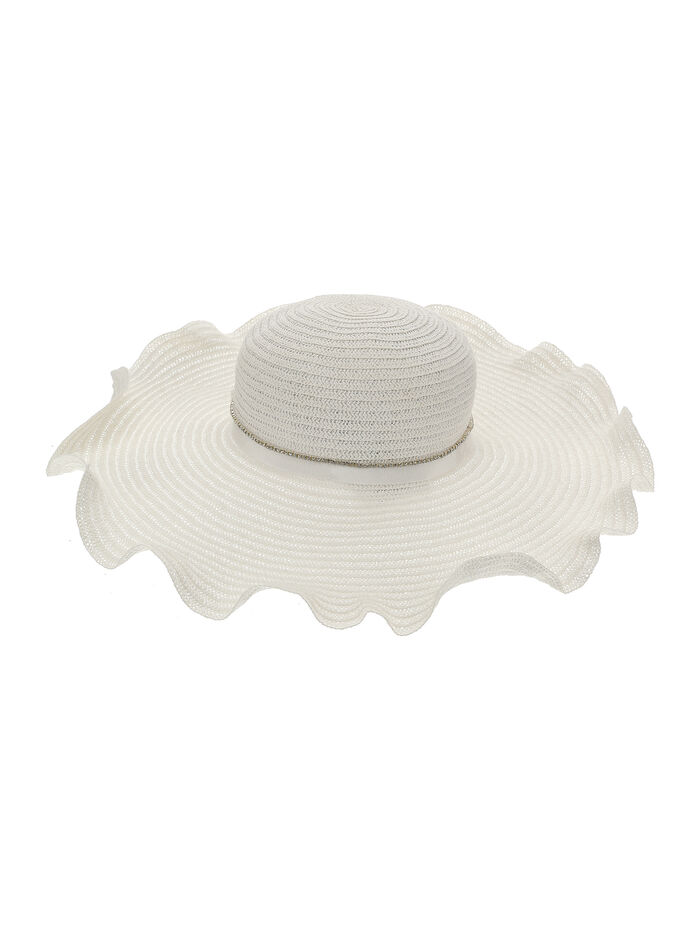 Straw hat with rhinestones and grosgrain