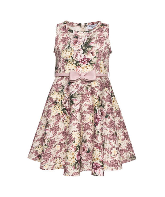 Hound's tooth dress with flowers