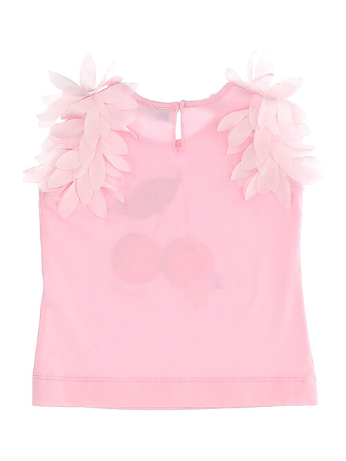 Cotton tank top with applied petals