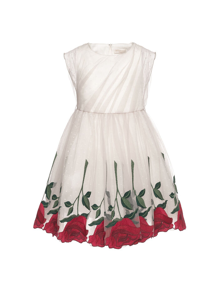 Elegant tulle dress with  roses