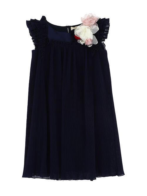 Satin plissé dress with brooch