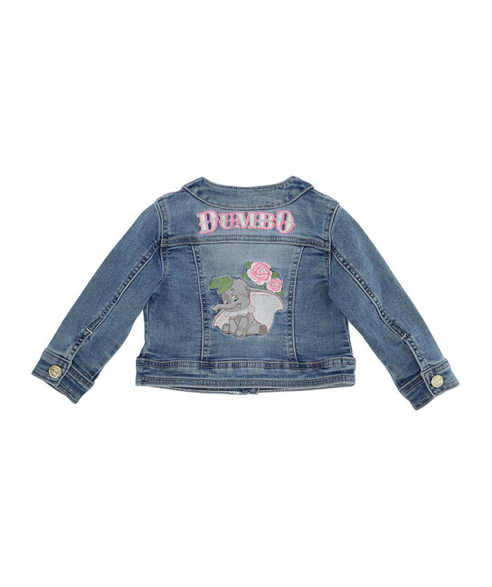 Stretch denim jacket with embroidery